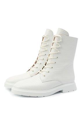 Женские кожаные ботинки STUART WEITZMAN белого цвета, арт. S3932 | Фото 1