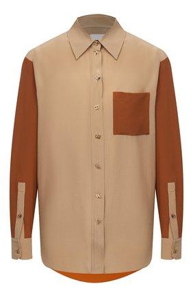 Женская шелковая рубашка BURBERRY бежевого цвета, арт. 8033122 | Фото 1