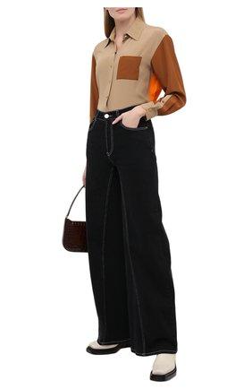 Женская шелковая рубашка BURBERRY бежевого цвета, арт. 8033122 | Фото 2