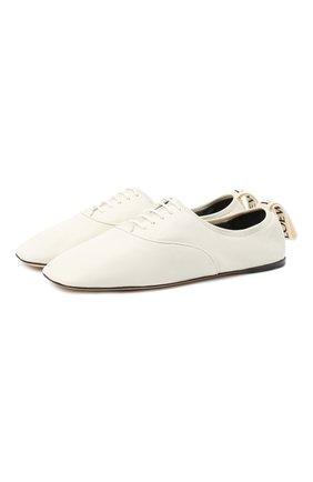 Женская кожаные оксфорды LOEWE белого цвета, арт. L815S02X03   Фото 1