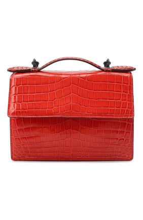 Женская сумка из кожи крокодила BOTTEGA VENETA красного цвета, арт. 420466/VI0GP   Фото 1 (Размер: mini; Сумки-технические: Сумки top-handle, Сумки через плечо)