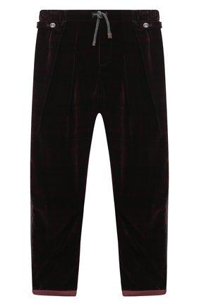 Детские хлопковые брюки BRUNELLO CUCINELLI бордового цвета, арт. BQ401S500C   Фото 1 (Материал внешний: Хлопок; Мальчики Кросс-КТ: Брюки-одежда; Ростовка одежда: 12 лет   152 см)