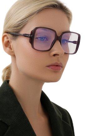Женские оправа TOM FORD фиолетового цвета, арт. TF5621-B 078   Фото 2 (Тип очков: Оправа; Очки форма: Квадратные; Оптика Гендер: оптика-женское)