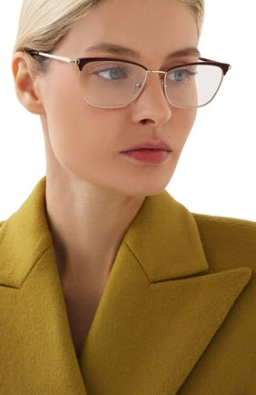 Женские оправа PRADA золотого цвета, арт. 57WV-09B101 | Фото 2 (Тип очков: Оправа; Очки форма: Cat-eye; Оптика Гендер: оптика-женское)