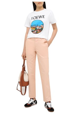 Женская хлопковая футболка LOEWE белого цвета, арт. S897Y22X02 | Фото 2