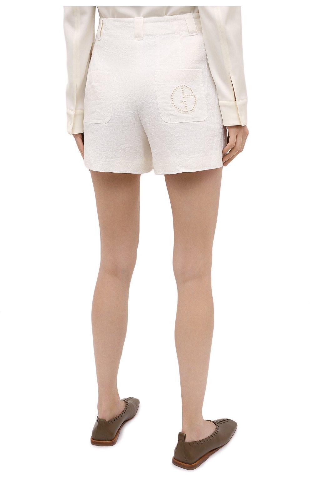 Женские льняные шорты GIORGIO ARMANI белого цвета, арт. 0WHPB00G/T022Q | Фото 4 (Женское Кросс-КТ: Шорты-одежда; Длина Ж (юбки, платья, шорты): Мини; Материал внешний: Лен; Материал подклада: Хлопок; Стили: Кэжуэл)