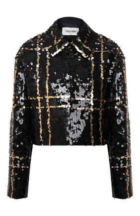 Женский жакет из шерсти и шелка VALENTINO черного цвета, арт. UB3CE2101CF | Фото 1