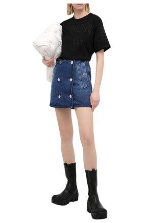 Женская хлопковая футболка BURBERRY черного цвета, арт. 8036185 | Фото 2