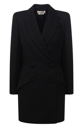 Женское шерстяное пальто ALEXANDER MCQUEEN черного цвета, арт. 636363/QJAAN   Фото 1