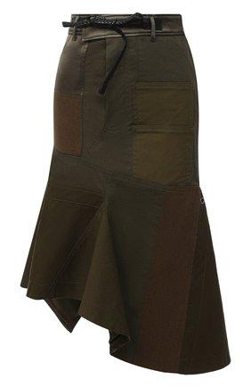 Женская хлопковая юбка TOM FORD хаки цвета, арт. GC5546-FAX774 | Фото 1