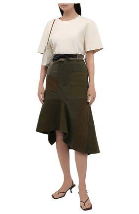 Женская хлопковая юбка TOM FORD хаки цвета, арт. GC5546-FAX774 | Фото 2
