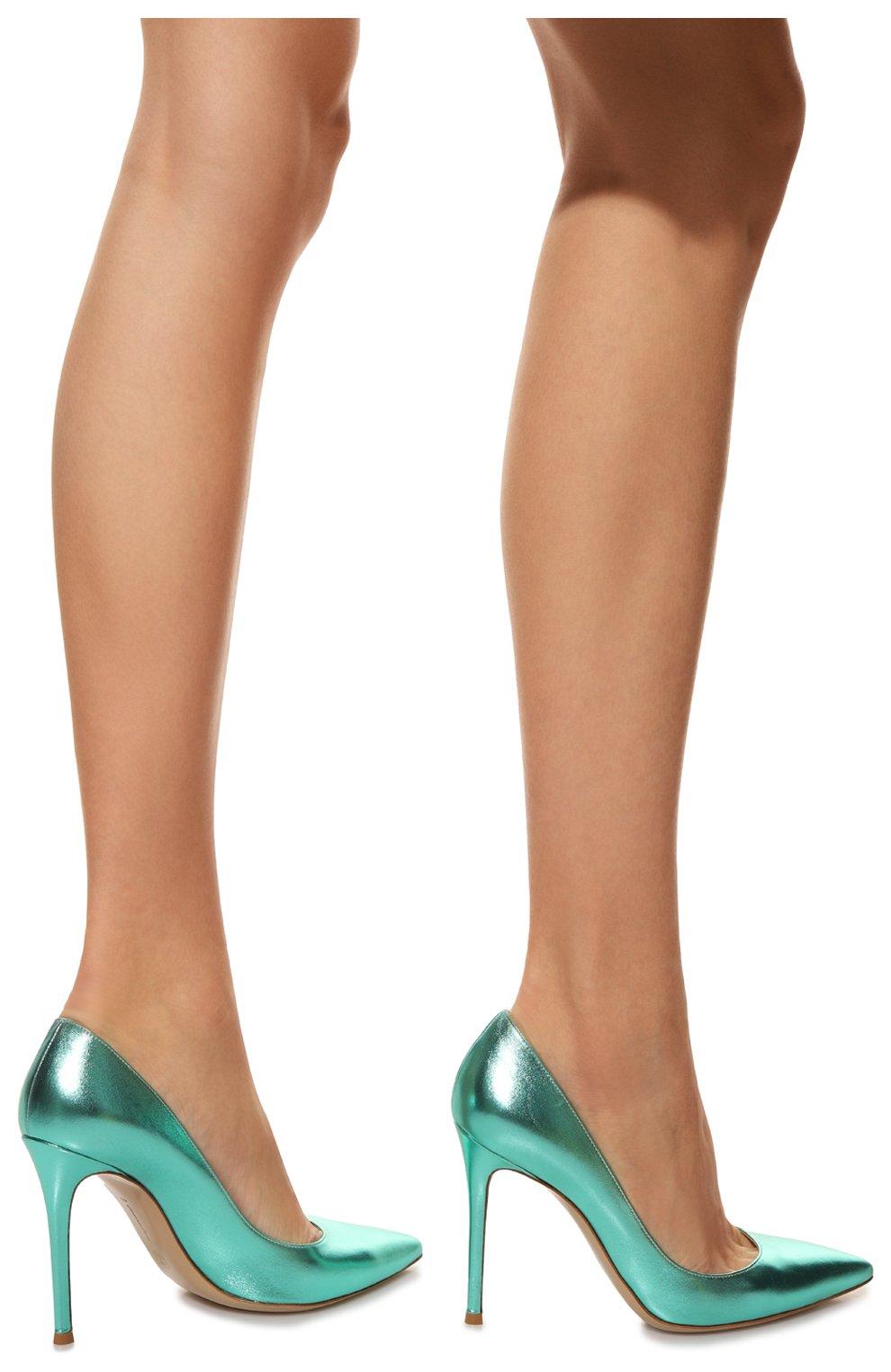Женские кожаные туфли gianvito 105 GIANVITO ROSSI зеленого цвета, арт. G28470.15RIC.NPSACMA | Фото 3