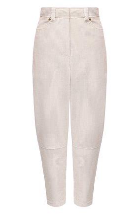Женские хлопковые брюки BRUNELLO CUCINELLI кремвого цвета, арт. MA180P7515 | Фото 1