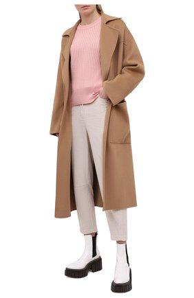 Женские хлопковые брюки BRUNELLO CUCINELLI кремвого цвета, арт. MA180P7515 | Фото 2