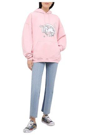 Женская хлопковое худи VETEMENTS розового цвета, арт. UE51TR400P 1601/W | Фото 2