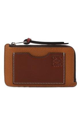 Женский кожаный футляр для кредитных карт LOEWE коричневого цвета, арт. C660Z40X04 | Фото 1