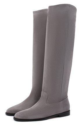 Женские замшевые сапоги bree JIMMY CHOO серого цвета, арт. BREE FLAT/SUE | Фото 1
