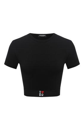 Женская хлопковая футболка DSQUARED2 черного цвета, арт. D8M263220 | Фото 1
