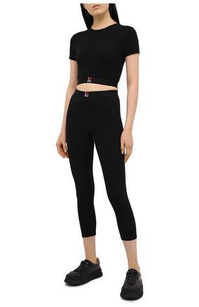 Женская хлопковая футболка DSQUARED2 черного цвета, арт. D8M263220 | Фото 2