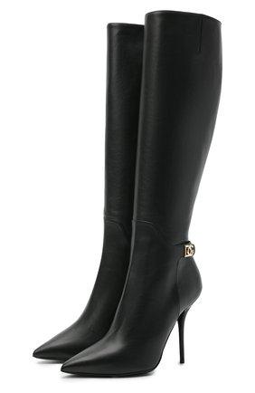 Женские кожаные сапоги DOLCE & GABBANA черного цвета, арт. CU0643/AW695 | Фото 1