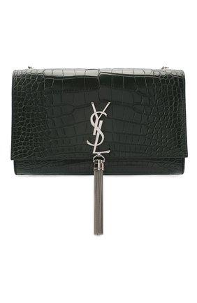 Женская сумка kate из крокодила SAINT LAURENT темно-зеленого цвета, арт. 354119/E5V0N   Фото 1 (Размер: small; Сумки-технические: Сумки через плечо; Ремень/цепочка: На ремешке)