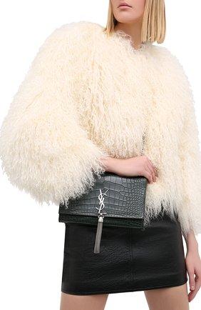 Женская сумка kate из крокодила SAINT LAURENT темно-зеленого цвета, арт. 354119/E5V0N   Фото 2 (Размер: small; Сумки-технические: Сумки через плечо; Ремень/цепочка: На ремешке)