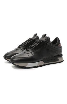 Мужские кожаные кроссовки SANTONI черного цвета, арт. MSAM21373GGNRKIGN55 | Фото 1 (Материал внутренний: Натуральная кожа; Подошва: Массивная; Стили: Классический)