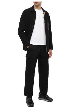 Мужские кожаные кроссовки SANTONI черного цвета, арт. MSAM21373GGNRKIGN55 | Фото 2 (Материал внутренний: Натуральная кожа; Подошва: Массивная; Стили: Классический)