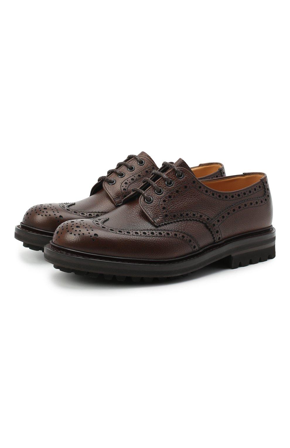 Мужские кожаные дерби CHURCH'S коричневого цвета, арт. EEC301/9FQ | Фото 1 (Мужское Кросс-КТ: Броги-обувь; Материал внутренний: Натуральная кожа; Стили: Классический)