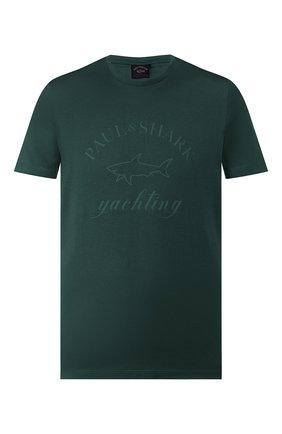 Мужская хлопковая футболка PAUL&SHARK зеленого цвета, арт. C0P1007/C00   Фото 1