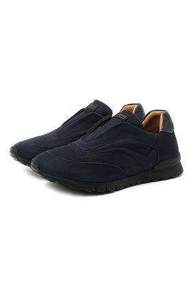 Мужские замшевые кроссовки KITON синего цвета, арт. USSFREEN00682/CP0R   Фото 1