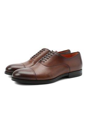 Мужские кожаные оксфорды SANTONI коричневого цвета, арт. MGNP17286SM0ICLBS52   Фото 1