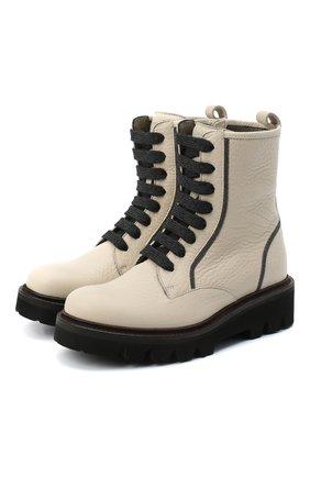 Детские кожаные ботинки BRUNELLO CUCINELLI бежевого цвета, арт. BZVNEZG016   Фото 1 (Материал внутренний: Натуральная кожа)