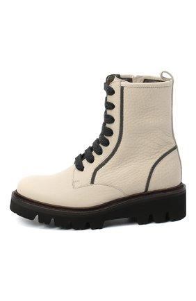 Детские кожаные ботинки BRUNELLO CUCINELLI бежевого цвета, арт. BZVNEZG016   Фото 2 (Материал внутренний: Натуральная кожа)