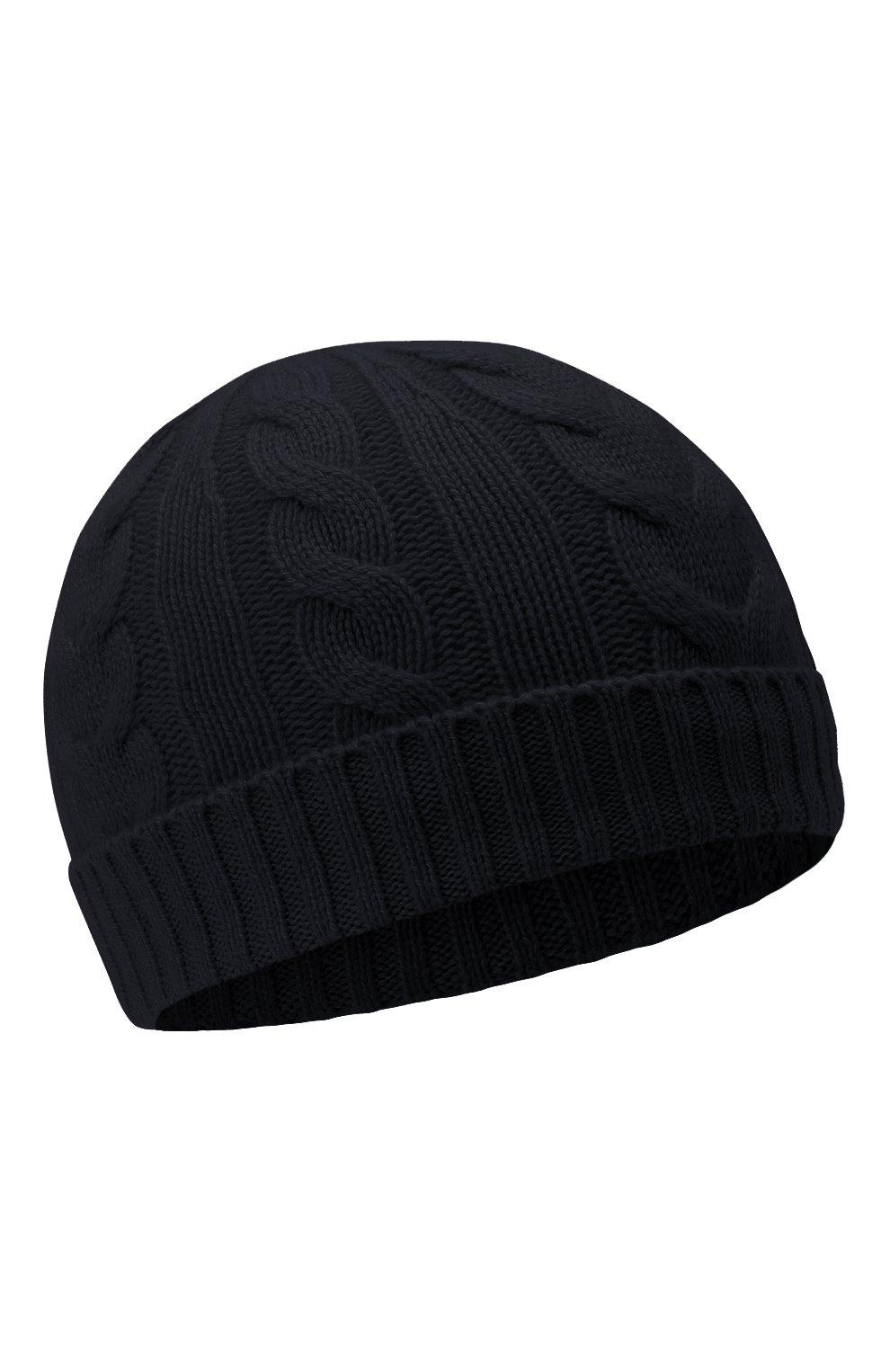 Детского кашемировая шапка LORO PIANA темно-синего цвета, арт. FAL4528   Фото 1 (Материал: Кашемир, Шерсть)