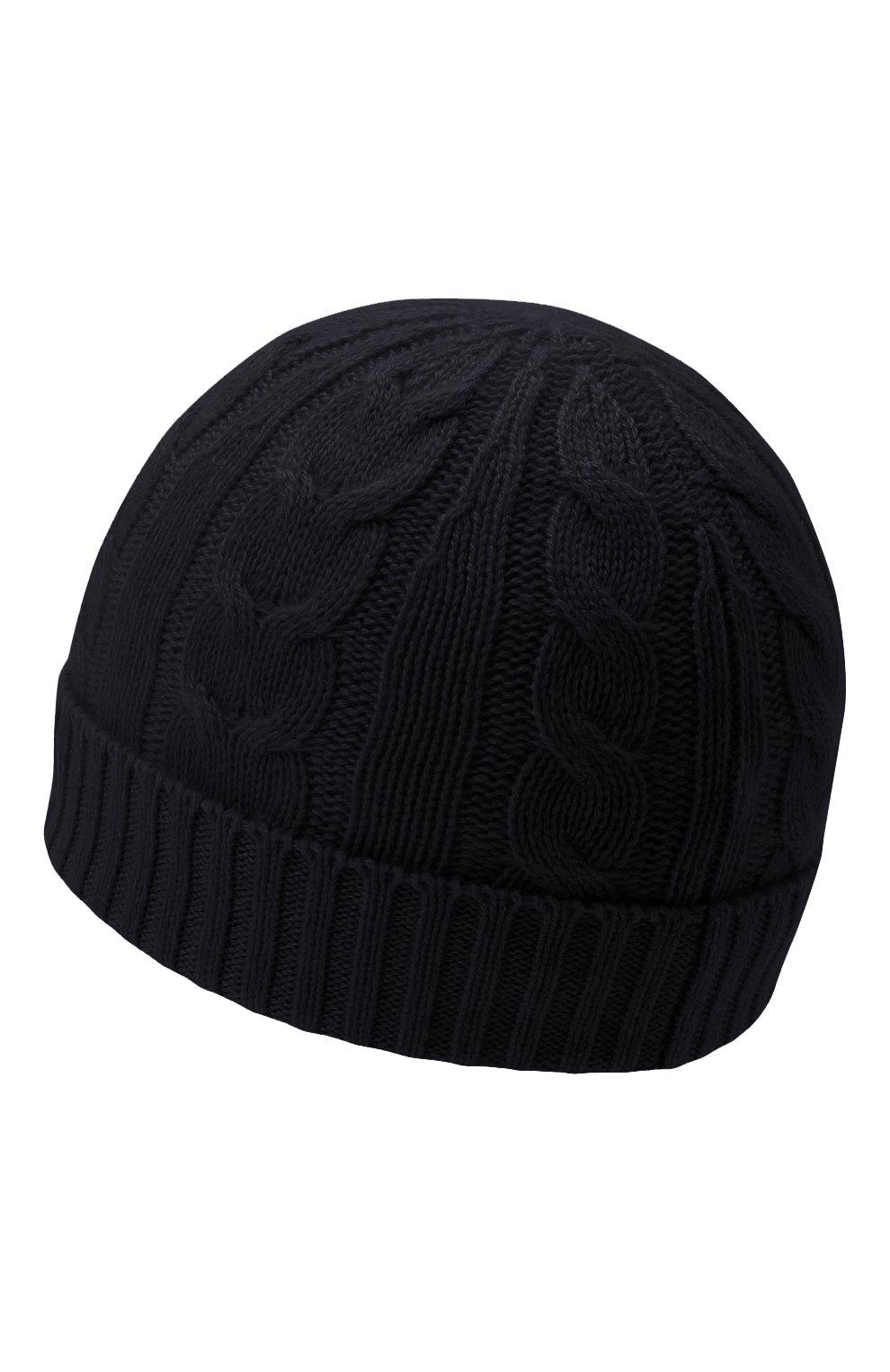 Детского кашемировая шапка LORO PIANA темно-синего цвета, арт. FAL4528   Фото 2 (Материал: Кашемир, Шерсть)