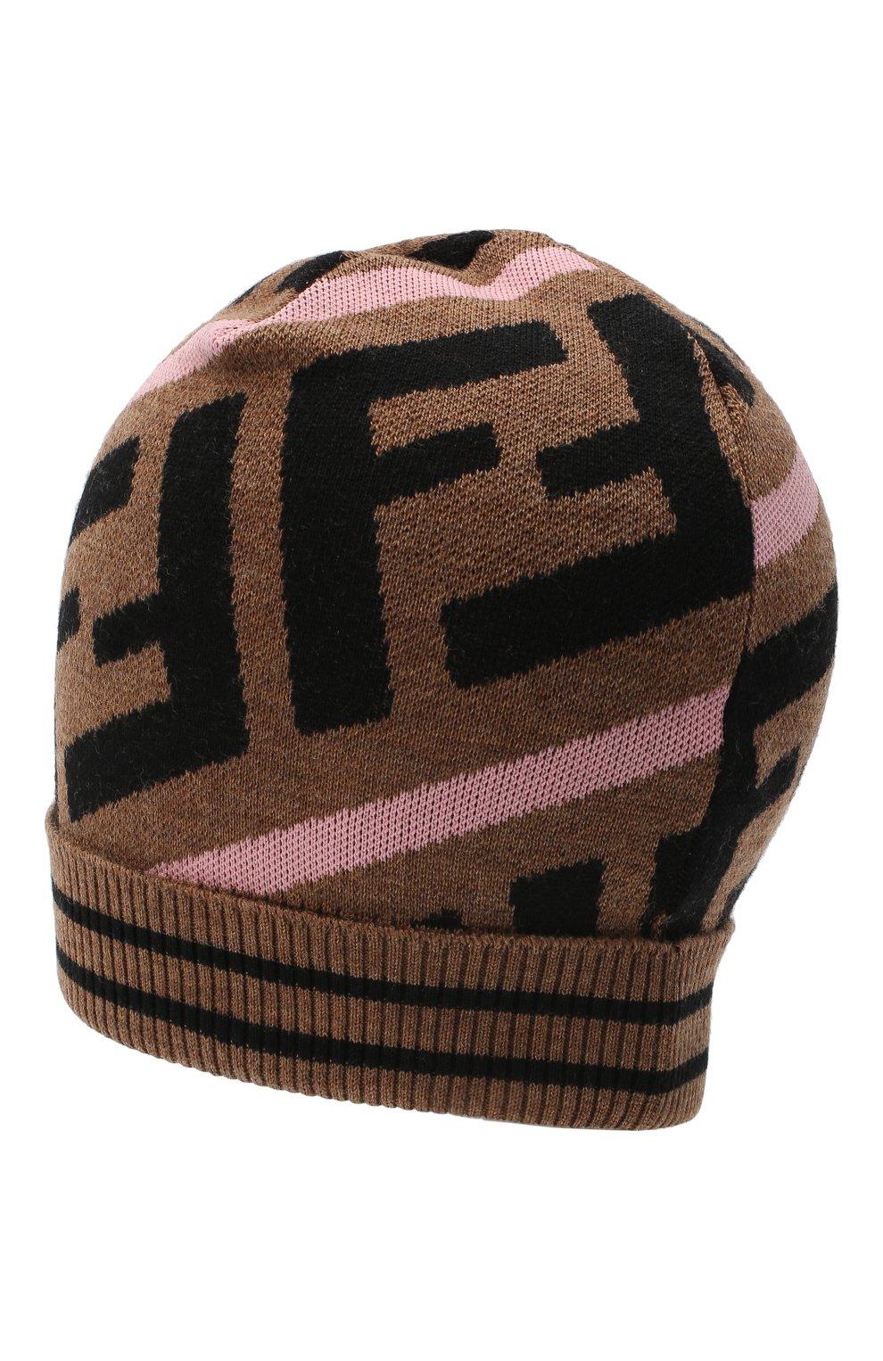 Детского шерстяная шапка FENDI розового цвета, арт. JUP012/A2M4   Фото 2 (Материал: Шерсть)