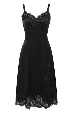 Женская сорочка из хлопка и шелка DOLCE & GABBANA черного цвета, арт. 06A86T/FUAD8 | Фото 1