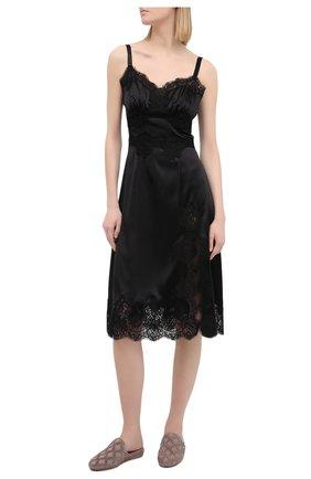 Женская сорочка из хлопка и шелка DOLCE & GABBANA черного цвета, арт. 06A86T/FUAD8 | Фото 2
