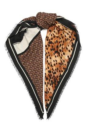 Женский кашемироый платок BURBERRY коричневого цвета, арт. 8035101 | Фото 1