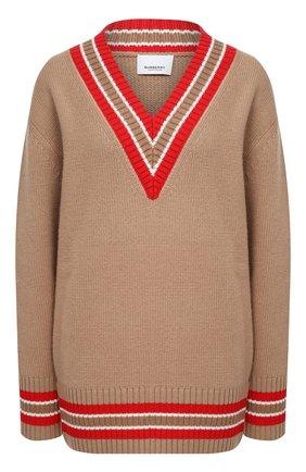 Женский шерстяной пуловер BURBERRY бежевого цвета, арт. 8036071 | Фото 1