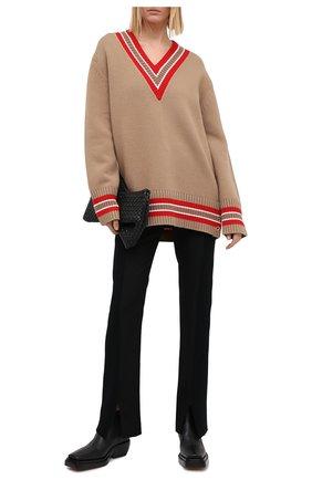 Женский шерстяной пуловер BURBERRY бежевого цвета, арт. 8036071 | Фото 2