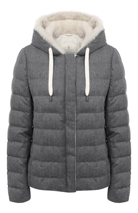 Женская пуховая куртка BRUNELLO CUCINELLI серого цвета, арт. MT2268017 | Фото 1
