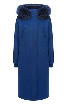 Женское кашемировое пальто LORO PIANA синего цвета, арт. FAI9086 | Фото 1