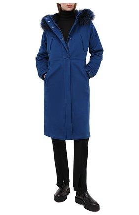 Женское кашемировое пальто LORO PIANA синего цвета, арт. FAI9086 | Фото 2