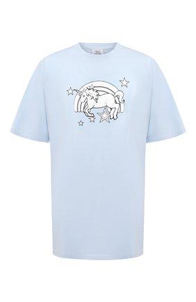 Мужская хлопковая футболка VETEMENTS голубого цвета, арт. UE51TR390X 1600/M | Фото 1 (Материал внешний: Хлопок; Мужское Кросс-КТ: Футболка-одежда; Длина (для топов): Удлиненные; Рукава: Короткие; Принт: С принтом; Стили: Гранж)