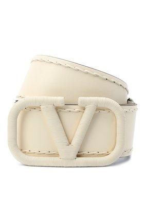 Женский кожаный ремень  VALENTINO белого цвета, арт. UW0T0S10/HEW | Фото 1 (Материал: Кожа)