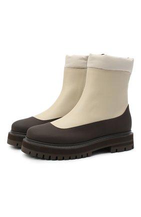 Женские кожаные ботинки LORO PIANA бежевого цвета, арт. FAL4228 | Фото 1
