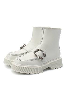 Женские кожаные ботинки hunder GUCCI белого цвета, арт. 627291/DS800 | Фото 1