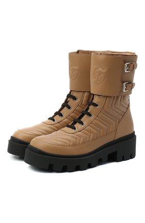 Женские кожаные ботинки frances GUCCI бежевого цвета, арт. 628855/DH7A0 | Фото 1